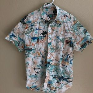 Tropical scene print button down